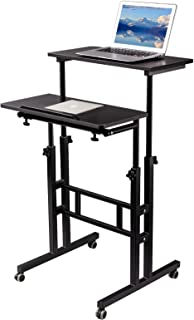 SIDUCAL Mobile Standing Desk, Rolling Standing Desk Laptop Cart on Wheels, Adjustable Table Computer Workstation Home Offi...