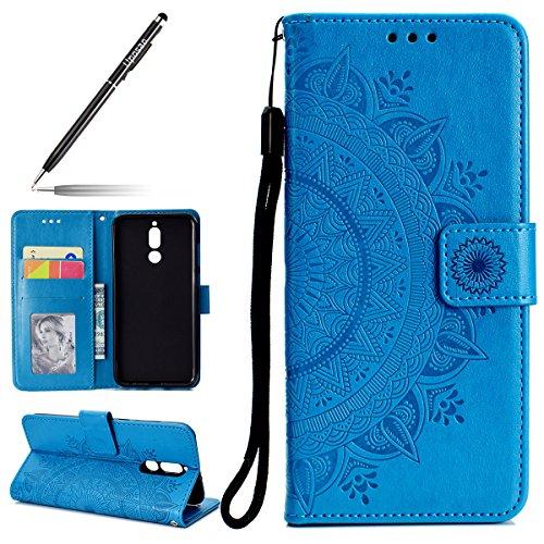 Uposao Kompatibel mit Huawei Mate 10 Lite Handy Schutzhülle Vintage Lederhülle Ledertasche Dünn Leder Handy Tasche Klapphülle Flip Cover Bookstyle Cover mit Standfunktion Karteneinschub,Blau