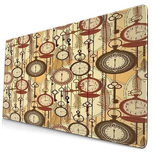 HASENCIV Alfombrilla de Ratón,Estilo Retro Relojes nostálgicos Antiguos Plumas y Llaves Impresiones de Arte Bohemio de los años 20,Mouse Pad - Precisión y Velocidad