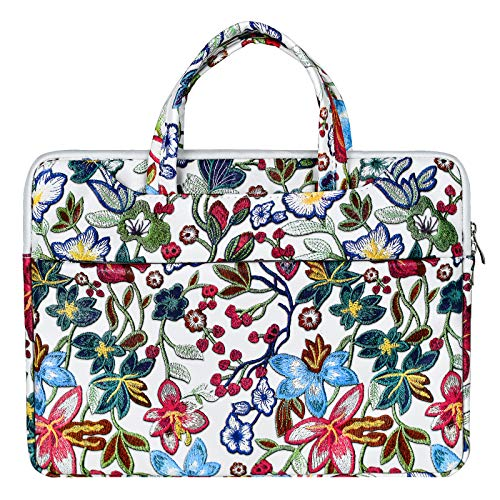 OneGET Laptop Sleeve Case Compatible with MacBook Pro 15-15.6 inch MacBook Pro Retina 2012-2015, Notebook, Polyester Vertical PU Leather Flower Bag with Pocket (15.6-16Inch, SL06)