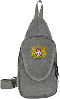 Canvas Sling Bag, Coat Of Arms Of Hong Kong, China National Emblem One Shoulder Cross Body Chest Backpack, Unbalance Outdoor Daypacks, Anti Theft Bags Pack Handbag Pouch