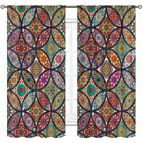 Cinbloo Mandala Bohemian Curtains Rod Pocket Indian Boho Floral Colorful Blossom Tribal Abstract Modern Art Printed Living Room Bedroom Window Drapes Treatment Fabric 2 Panels 42 (W) x 63(L) Inch