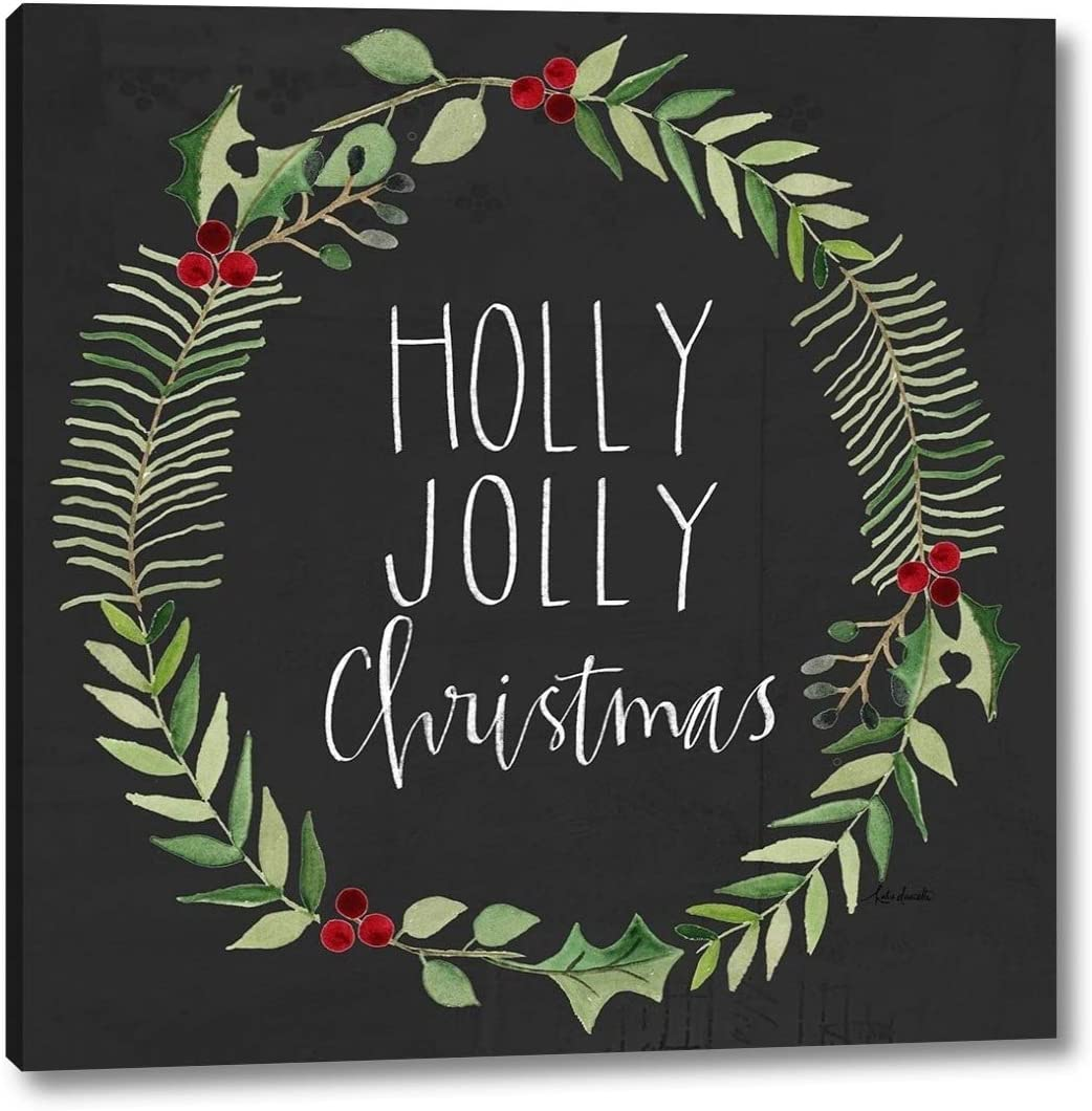 Holly Jolly Wreath by Katie Doucette Canvas 16
