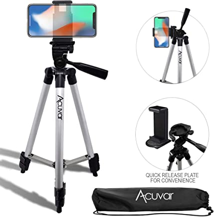 "Acuvar 50"" Inch Aluminum Camera Tripod with Quick Release + Universal Smartphone Mount for iPhone Xs, Max, Xr, X, 8, 8+, Pixel 3, XL, Android Note 9, S10, S10+ & More Smartphones"