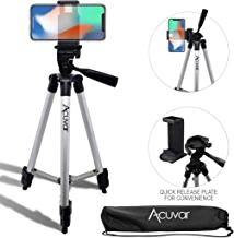 """Acuvar 50"""" Inch Aluminum Camera Tripod with Quick Release + Universal Smartphone Mount for iPhone Xs, Max, Xr, X, 8, 8+, Pixel 3, XL, Android Note 9, S10, S10+ & More Smartphones"""