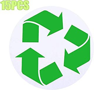 4 Inch Large Circle Recycle Sticker,Self Adhesive Recycling Symbol Bins Labels Decals  Organize & Coordinate Garbage Can Trash Bins Containers Trashcan (Green,15pcs)