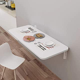 GSKD Table Murale Rabattable en Bois Bureau D'ordinateur Blanc Table De Cuisine Table De Salle À Manger Pliable Table Enfa...
