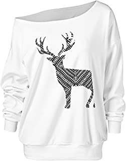 Women Off Shoulder Oversized Sweatshirt Christmas Pullovers Tops with Plus Size