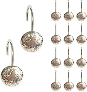 Grace life Antique Shower Curtain Hooks Oil Rubbed Bronze Curtain Rings for Bathroom Shower Rods Set of 12 Hooks (Brushed Nickel)