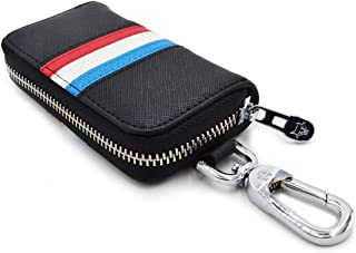 Car Key Case Wallet - Large Genuine Leather Key Case Chain Holder Wallet - with 6 Hooks 2 Card Slots & 1 Car Key chain