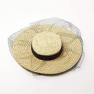 Hats Women's Hat with Ribbon\ Lace Fringe Sun Hat Beige Flat Top\Wide Brim Fashion (Color : Beige, Size : One Size)