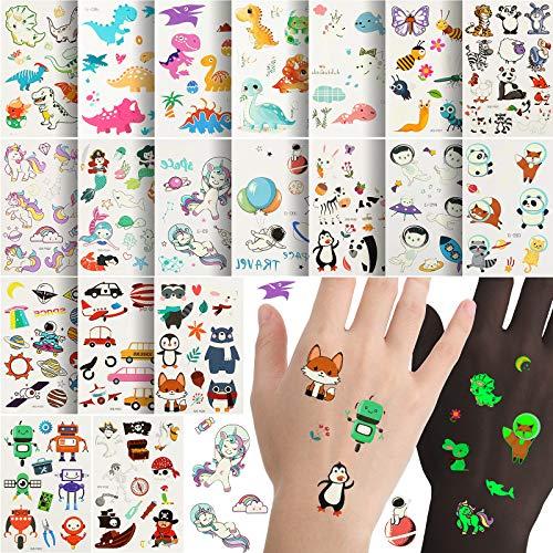 20 Sheets Temporary Cartoon Tattoos Luminous Tattoos Stickers Waterproof Tattoos Sticker Dinosaur Unicorn Space Animal Themed Tattoos for Kids Boys Girls Birthday Party Decorations