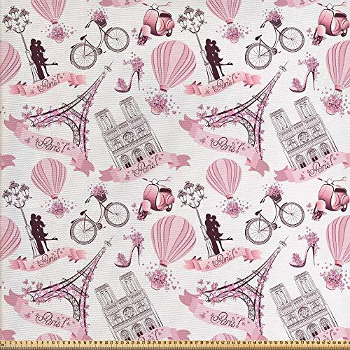 ABAKUHAUS Eiffel Gewebe als Meterware, Liebe in Paris Bridal Pink, Schön Gewebten Stoff für...