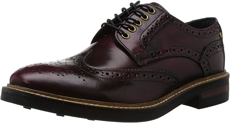 Base London Woburn Hi Shine Bordo Cuir Hommes Formal Brogue Bottes