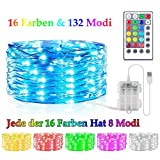 Bunt LED Lichterkette Außen Batterie & USB, 16 Farben 132 Licht Modi Lichterkette fur Zimmer mit...