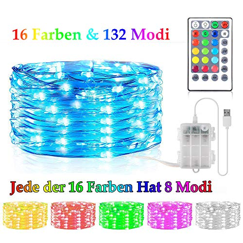 Bunt LED Lichterkette Außen Batterie & USB, 16 Farben 132 Licht Modi Wasserdicht Lichterketten mit Fernbedienung & Timer, 5M 50LED Fairy Lights Dimmbar für St. Patrick's Day, Weihnachten, Garten,Party