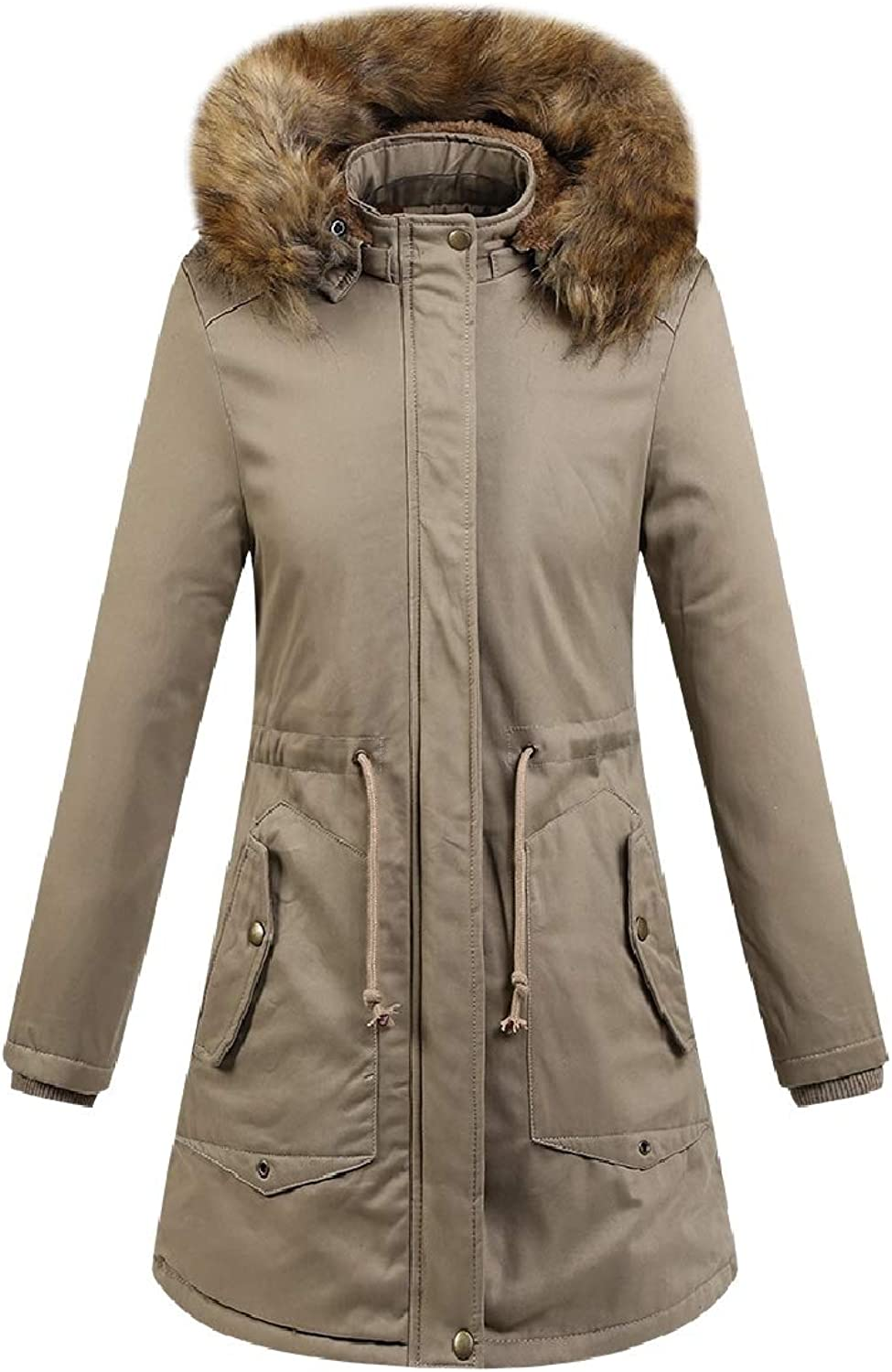 Cobama Women MidLong Washed Fur Collar Solid colord Hood Plus Velvet Down Coat