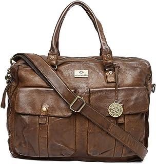 KOMPANERO Leather 34 Cms Brown Messenger Bag (B-4940-cognac)