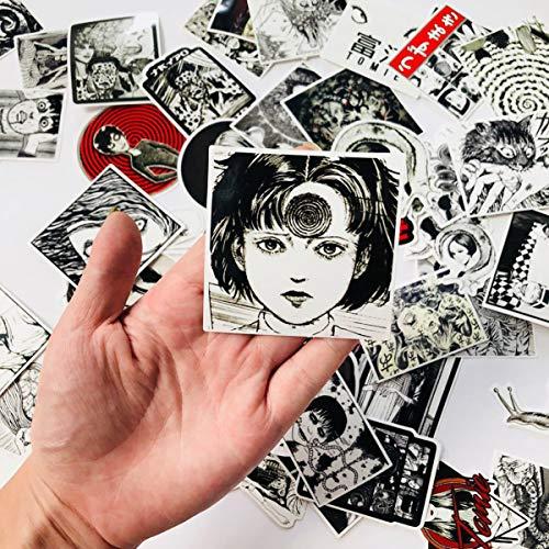 56 x Tomie Comic Print Schwarz und Weiß Thriller Horror Style Spielzeug Aufkleber für Wasserflasche Skateboard Gepäck Trolley Laptop Doodle Cool Sticker