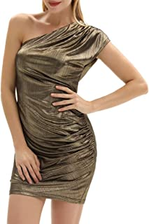 GRACE KARIN Vestido Elegante de Las Mujeres Vestido CeñIdo Ceremonia Bodycon DiseñO AsiméTrico de Un Hombro