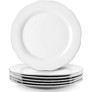 Lifver Piatti per piatti in porcellana 25cm Piatti da portata con bordo in rilievo set di 6 bianco rotondo e elegante