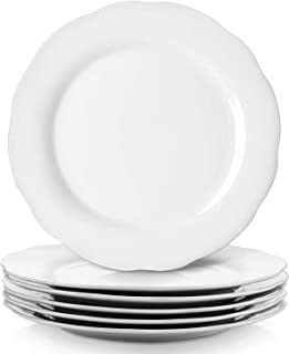 YHY 10.6 Inches Porcelain Scallop Dinner Plate Set, White Serving Platters, Set of 6