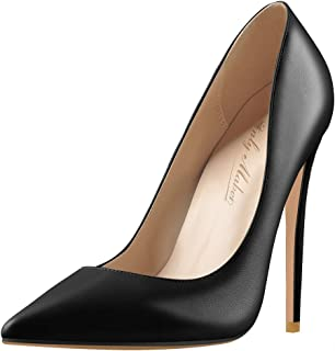 Women's Classic Pointed Toe Genuine Leather High Heels...