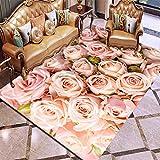 HXJHWB Wohnzimmer Teppich Kurzflor Designer Teppiche Modern - Exquisiter und eleganter Teppich mit Rosenmuster, rechteckiger, langlebiger und weicher, weicher Teppich-120CMx160CM