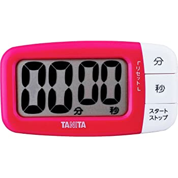 タニタ キッチン タイマー マグネット付き 大画面 100分 ピンク TD-394 PK でか見えタイマー