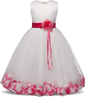 690e45ea658 NNJXD Girl Tutu Flower Petals Bow Bridal Dress for Toddler Girl