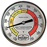 Midwest Hearth Professional Thermometer for Kamado Style Charcoal Grills (3' Dial)