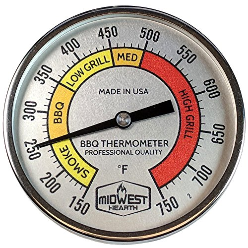 """Midwest Hearth Professional Thermometer for Kamado Style Charcoal Grills (3"""" Dial)"""