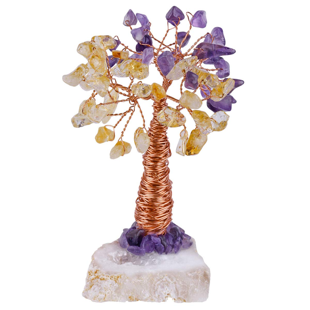 Amethyst Crystal Money Tree Cluster Base Bonsai Wealth and Luck Home Decoration