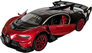 LMOY 1:32 Bugatti Chiron Vision Grand Turismo (GT) Zinc Alloy Pull Back Diecast Toy car Model Collection with Light & Sound(red)