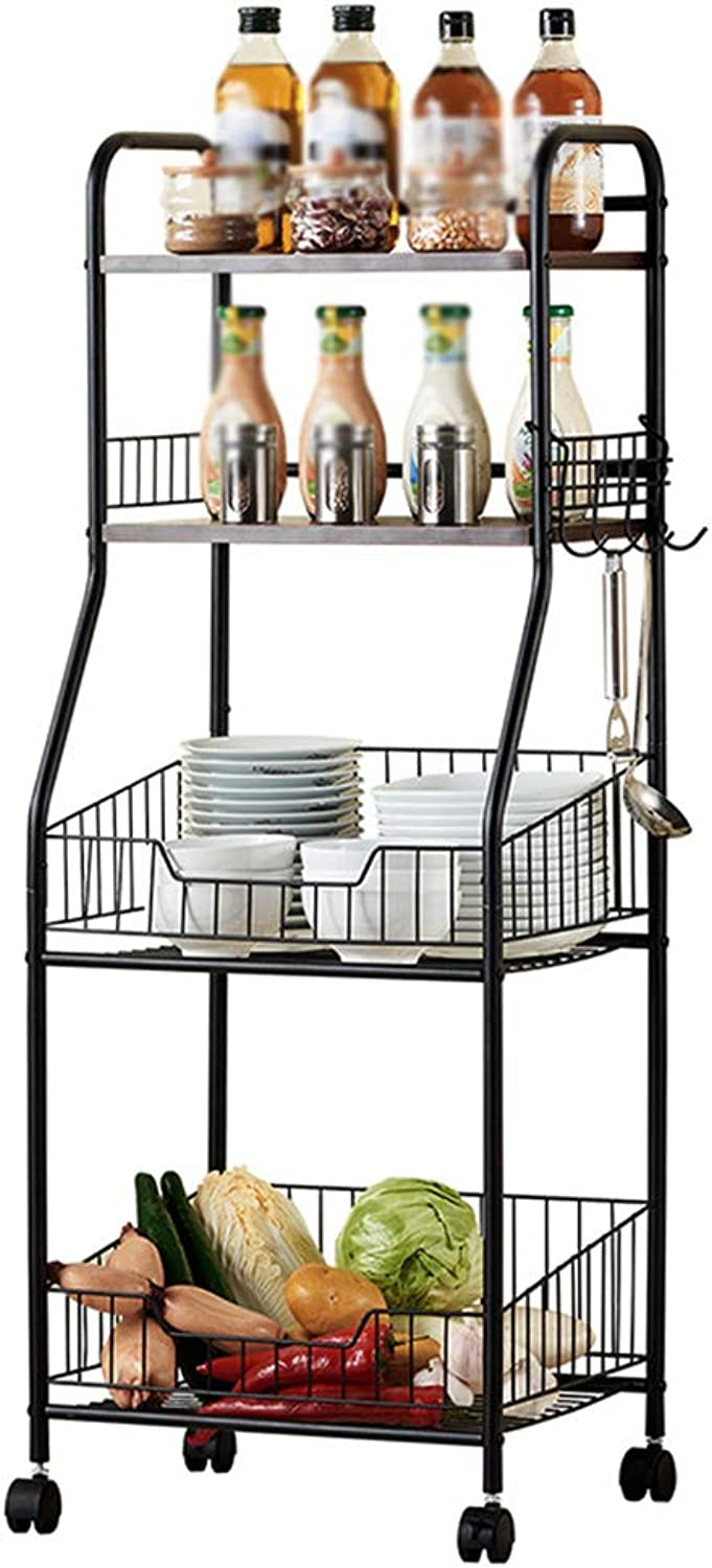 YANZHEN Kitchen Shelf Floor-Standing It Can Move Four Floors Universal Wheel Storage Concise Square Tube Carbon Steel, Bearing 100KG (color   Black, Size   42x34.5x114cm)