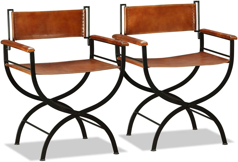 VidaXL 2X Folding Chairs Genuine Leather 59x48x77cm Black and Brown Home Seat