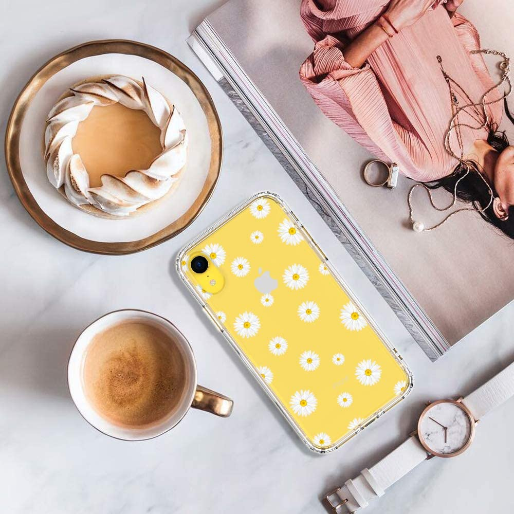MOSNOVO Compatible for iPhone XR Case, Clear Daisy Floral Flower Pattern Print Design Girl Women with Transparent TPU Bumper Protective Hard Back Case Cover for iPhone XR