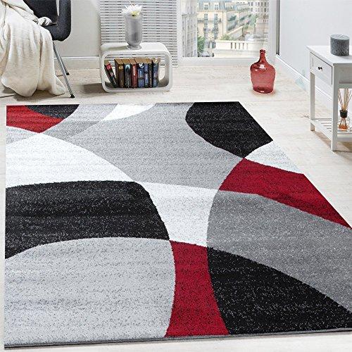 Paco Home Tapis Design Poils Ras Tapis Moderne Abstrait Demi-Cercles Motif en Rouge Gris, Dimension:120x170 cm