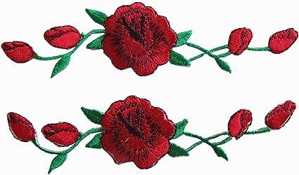 Woohome Broderie Patch Thermocollant, 2 PCS Fleurs de Rose à Repasser Iron-on Patches Appliques pour L'artisanat, La Couture, Les Vêtements, Les ...