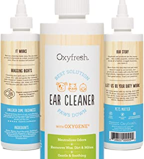 Advanced Pet Ear Cleaner with Oxygene by Oxyfresh, 8 oz. - Gentle and Safe - No Rinsing Required - Non-Irritating - Fresh Clean Ears - Made in the USA