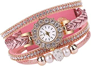 Muranba 2019 ! Women Watches Fashion Vintage Weave Wrap Quartz Wrist Watch Bracelet for Ladies (Pink)