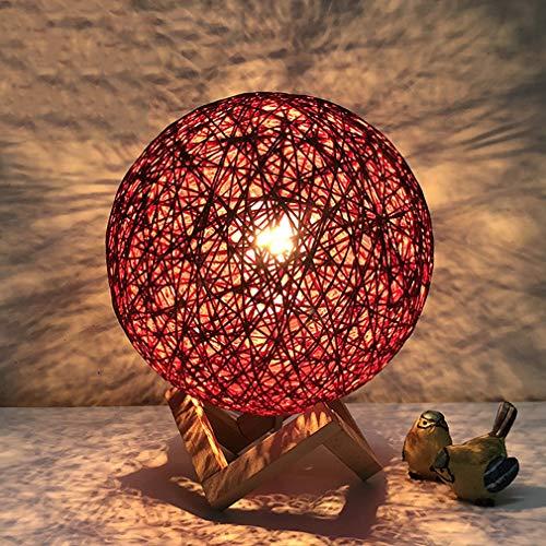 Moderne Tischlampe Schlafzimmer Nachttischlampe Warmes Licht Warm Kinderzimmer Ball Form Tischlampe, E27, 20 * 25 CM, Maximal 40 Watt, Rot