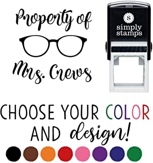 Custom Self-Inking Teacher Stamp - Your Choice of 20 Designs - 8 Colors! (Glasses Property)