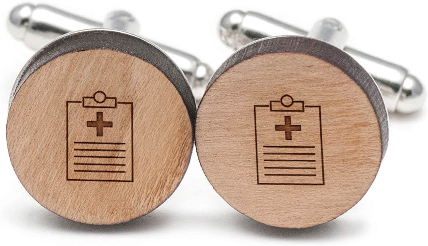 Health Clipboard Cufflinks, Wood Cufflinks Hand Made in the USA