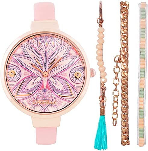 Pixie Feathers Watch Bracelet Set Baby Pink Jewelry Watch Wrist Watch for Women Dress Watch Fashion Accessory with Bracelet Set Slim Strap