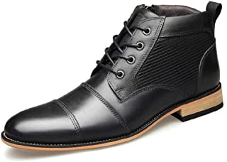 JIANFEI LIANG Men's Ankle Boots High Top Dress Oxfords Lace up Genuine Leather Burnished Style Stitch Side Zipper Patchwork Anti-skid Work or Casual Wear (Color : Black, Size : 50 EU)
