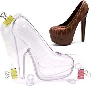 Big Size 3D High Heel Shoe Chocolate Mold with 3 Clips, DIY Crystal Jelly Lady Shoes Mould Candy Cake Decoration Desserts ...