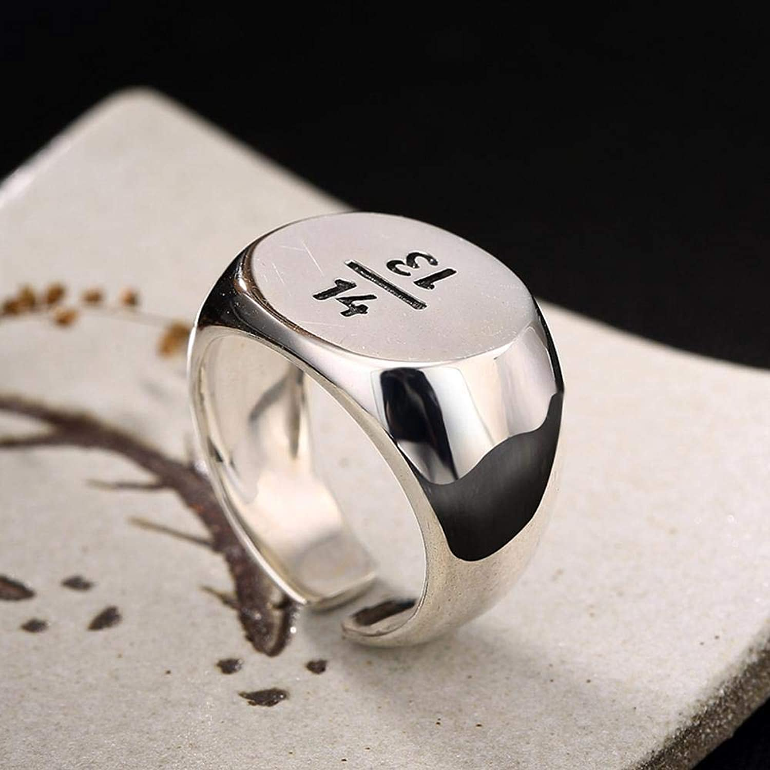 DTZH Rings Jewellery RingS925 Pure Silver Smooth Simple Retro Digital Couple Ring Give it to Dear People