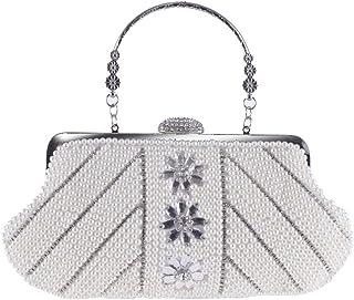 ZYWYB Womens Crystal Evening Clutch Bag Wedding Purse Bridal Prom Handbag Party Bag (Color : White)