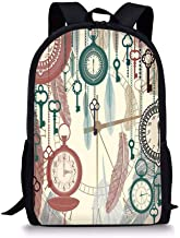 School Bags Antique Decor,Traditional Pocket Watches with Feather and Old Key Portable Time Flies Hour Hand Artsy Theme,Multi for Boys&Girls Mens Sport Daypack